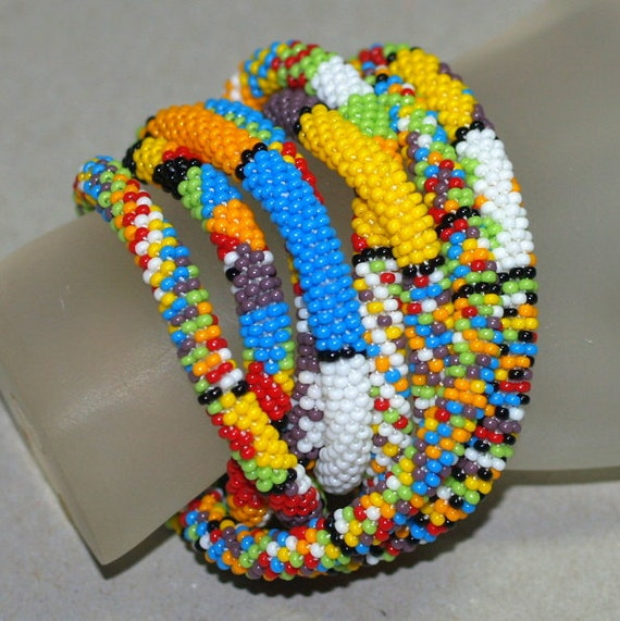 Pattern Play ... Necklace . Bracelet . Bead Crochet Rope . Multicolor . Colorful . Festive . Opaque Colors . Stripes . Great Gift