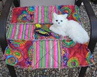 Cat Blanket With Geometric Designs and Stripes In Dark Pink