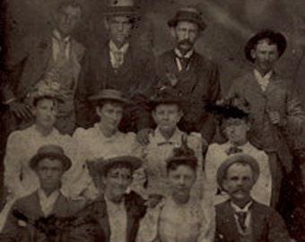 Large group tintype fashion couples antique photo