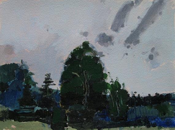 Strange Sky, Original Landscape Painting on Paper, Stooshinoff