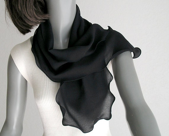 "Black Chiffon Small Scarf Scarflette Ponytail Scarf or Hat-band Pure Mulberry Silk, 8"" x 42""."