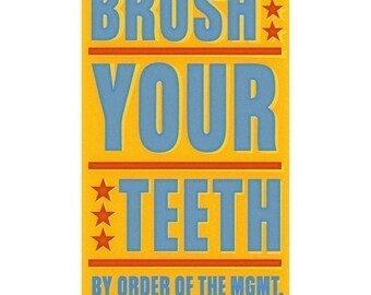 "Bathroom art for kids- Brush Your Teeth Print 6"" x 10""- Kids Bathroom Decor Kid seen"" Land of Nod. Kids Art Prints- Kid Bathroom Wall Art"