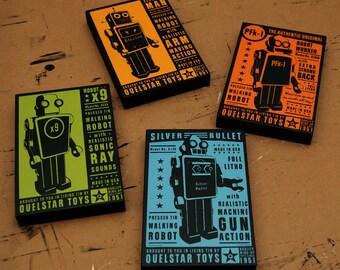 Retro Robot Gift for Him- Quelstar Robot Art Blocks- 4 Print Set- Robot Wall Decor- Kids Room Decor Art Gift for Dad- Gift for Husband