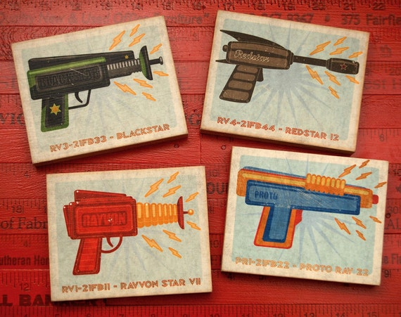 "Raygun Art Blocks- 4 Print Set 4"" x 5""- Raygun Prints- Art for Men- Man Cave Art- Artwork for Men- Dad Gift- Kid Decor- Sci Fi Gifts for Him"