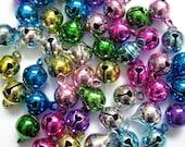 8mm Mix Jingle Bells Charm Drop Bead w/ Tiny Clappers 50pcs