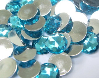Acrylic Rhinestone Cabochon Beads, Faceted, Circle, Dodger Blue, 12mm, 100pcs