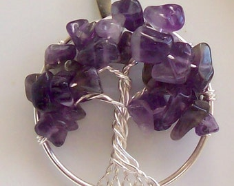 Tree of Life Pendant Necklace- Amethyst- Wire Wrapped Silver - Medium Size - February Birthstone