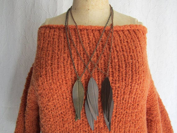 Fall Leaves Necklaces.  Set of Three.
