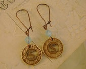Spring Forward - Vintage Colorado Springs Copper Transit Token Pacific Blue Opal Recycled Earrings,Can Create Special Token Earrings For YOU