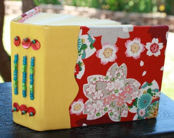 Red and Gold Asian CHERRY BLOSSOM Blank Art Journal Beaded Leather & Japanese Fabric