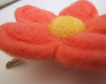 Coral Felted Flower Clip