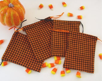 Halloween treat bags. candy bags. black and orange