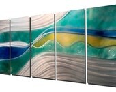 Silver Blue Yellow Large Modern Painting - Contemporary Metal Art - Large Wall Sculpture - Metal Decor - Home Accent - Lucidity by Jon Allen