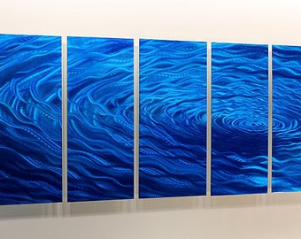 Blue Abstract Metal Painting - Modern Metal Wall Art - Home Decor - Painted Accent - Water Inspired Art - Cobalt Ripple by Jon Allen