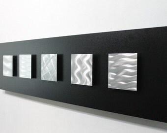 Silver & Black Modern Metal Wall Art Sculpture, Abstract Wall Art Decor, Handmade Metal Wall Hanging - Tower of Power by Jon Allen