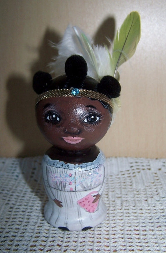 wooden hand painted AA girl doll or collectible