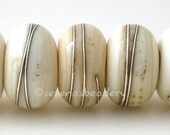 Handmade Lampwork Glass Beads LIGHT IVORY with Fine Silver Wire Wraps- TANERES