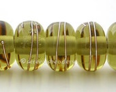 MOJITO GREEN with Fine Silver Wraps - Handmade Lampwork Glass Beads - TANERES
