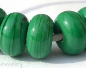 5 DARK GRASS GREEN Lampwork Spacer Glass Beads Glossy & Matte Handmade Donut Rondelle