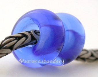 Lampwork Spacer Glass Beads DARK BLUE Pair European Charm Handmade - TANERES