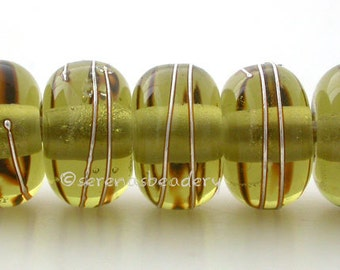 MOJITO GREEN Bead - Fine Silver Wraps - Handmade Lampwork Glass Beads - TANERES