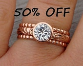CLEARANCE - Moissanite and Recycled 14k Rose Gold Engagment Ring and Wedding Band Set, size 7.5
