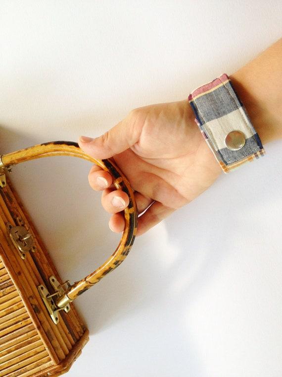 Preppy Wrist Cuff plaid madras fabric unisex