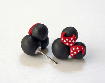 Black Ear Mini Mouse Earrings with Polka Dot Bow. Made on Hypoallergenic Surgical Steel Posts Red Polka Dot Bow mini ears