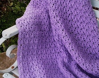 HAND CROCHETED DECORATIVE Lapghan Afghan Throw in Beautiful Orchid