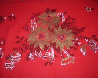 Vintage Christmas TableclothGold Gilded Poinsettas Birds Ornaments 52 x 80 inches