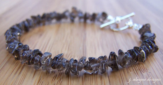 Smoky Quartz Bracelet. Gemstone Chip Bracelet. Quartz Bracelet. Brown Bracelet