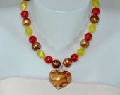 Brown Glass Heart Pendant Necklace