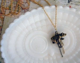 mama bear necklace- layered chain- aged brass- woodland whimsy