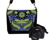 CLEARANCE Digital Slr Camera Bag DSLR Camera Bag Purse Womens Camera Bag Case  Zipper Padded   - Deluxe Deco Dragonfly (RTS)