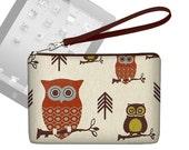 SALE Cute Owl Clutch Purse /  Womens Mini iPad Case /  iPad Mini Wristlet Purse  / iPad Mini Cover /   blue rust brown MTO