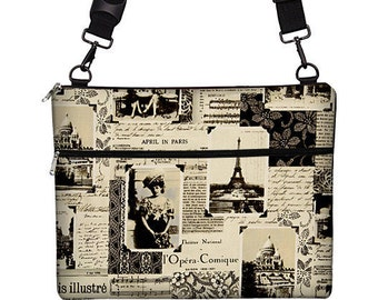 """13 inch Laptop Bag for MacBook Pro 13"""" Case Sleeve Cover Mac Laptop Messenger Bag with Strap  - April in Paris Eiffel Tower MTO"""