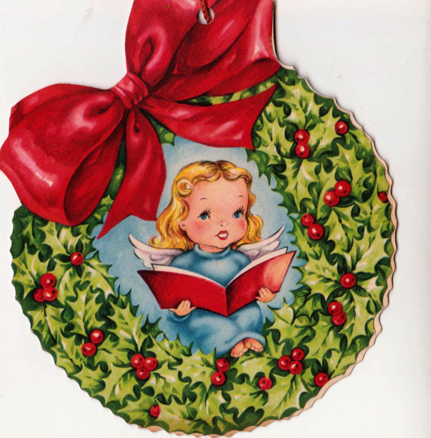 reserved christmas tree decoration 1950s bow vintage greetings. Black Bedroom Furniture Sets. Home Design Ideas