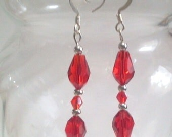 Red Earrings, Faceted Glass Teardrop Earrings, Red Crystal Jewelry, Ruby Red Earrings, Silver Beaded Dangle Earrings