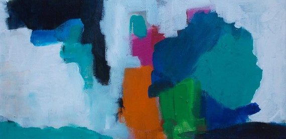 abstract painting 20x10 colorful orange blue green pink