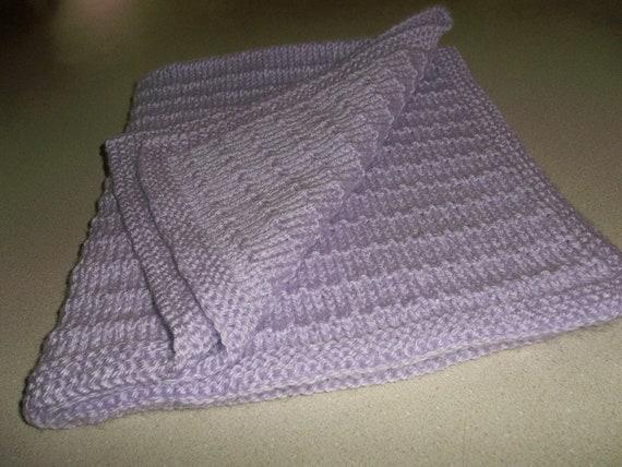 Knitted Lavender Preemie Small Baby Blanket by DelsYarnBasket
