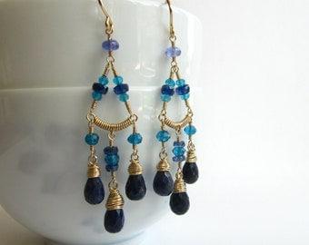 Chandelier Earrings Sapphire Blue Topaz Apatite Birthstone