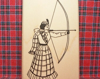 Victorian Scottish Archer Lady Rubber Stamp Vintage Scotland #469