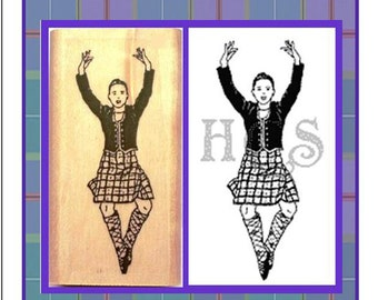Scottish Highland Dancer Rubber Stamp