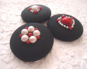 3 fabric buttons, black red ivory buttons, 1.5 inch button, holiday wrapping, wine bag embellishment, tree ornaments