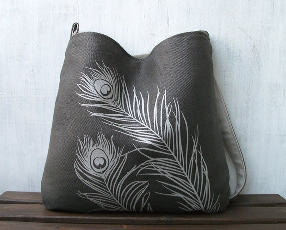 Hemp Messenger Bag with Peacock Feathers Organic Cotton Lining - Charcoal Gray