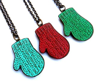 Knit Mitten Necklace, Smittens, Holiday Mitten Necklace