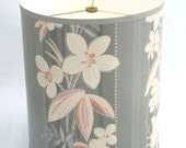 Drum Lamp Shade in White and Pink Tropical Floral 1940's Vintage Wallpaper