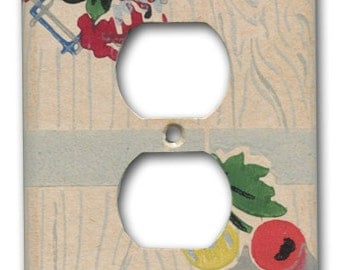 Fruit and Floral 1930's Antique Wallpaper Single Outlet Plate