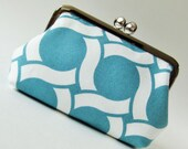 Circles on blue snap purse