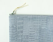 Zipper pouch - skyscrapers on gray